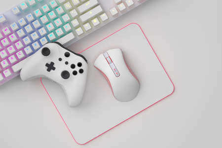 Top view of gamer workspace and gear like mouse, keyboard, joystick, headset on white table background. 3d rendering of accessories for live streaming concept top view