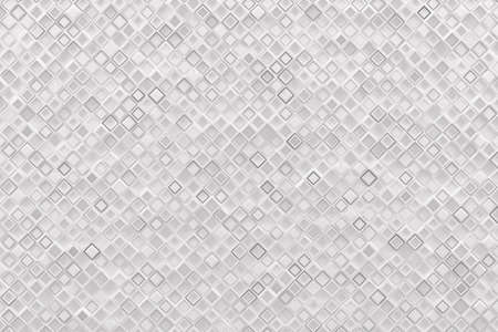 Abstract monochrome white geometric pattern or background made of chaotic square surface polygons. 3d rendering of realistic multicolored cubic backdrop or wallpaper