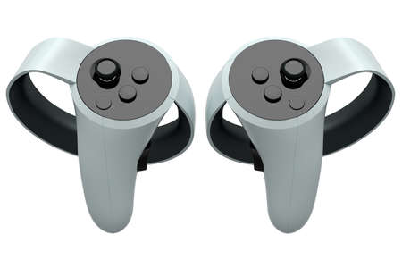 Virtual reality controllers for online and cloud gaming on white background