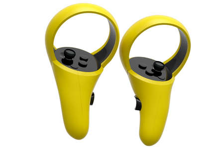 Virtual reality yellow controllers for online and cloud gaming on white