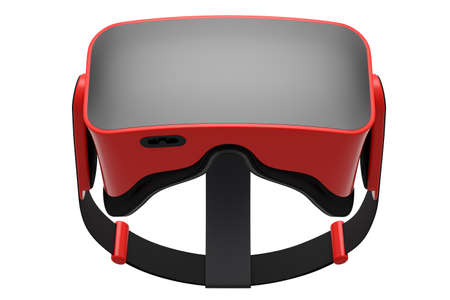 Virtual red reality glasses isolated on white background. 3d rendering