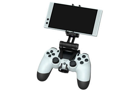 Realistic white joystick for playing games on mobile phone on white background