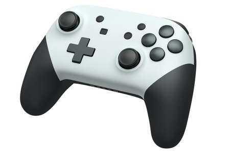 Realistic video game controller on white background