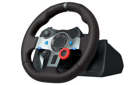 Realistic leather steering wheel isolated on a white background. 版權商用圖片