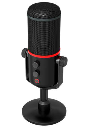 3D rendering of black studio condenser microphone isolated on white background