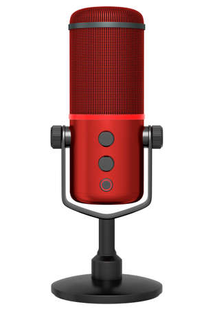3D rendering of red studio condenser microphone isolated on white background