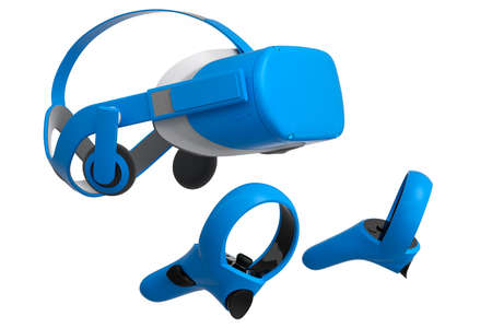 Virtual reality glasses and controllers for online gaming on white background 版權商用圖片