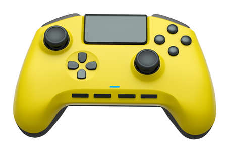 Realistic yellow video game controller on white background 版權商用圖片
