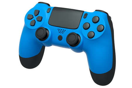 Realistic blue video game controller on white background