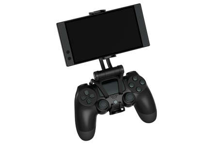 Realistic joystick for playing games on a mobile phone on white background