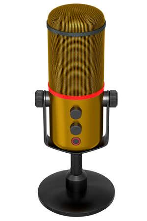 3D rendering of yellow studio condenser microphone isolated on white background 版權商用圖片
