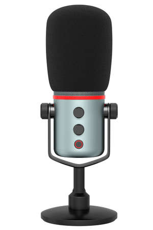 3D rendering of studio condenser microphone isolated on white background