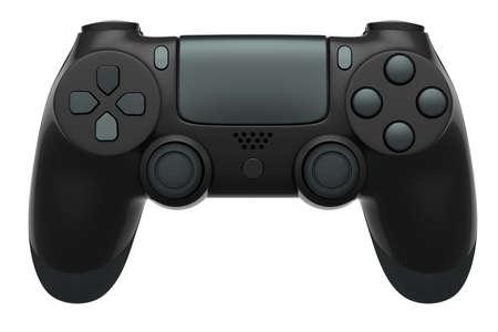 Realistic black video game controller on white background 版權商用圖片