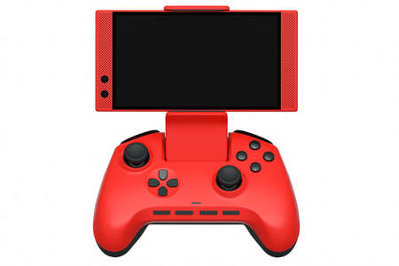 Realistic red joystick for playing games on a mobile phone on white background