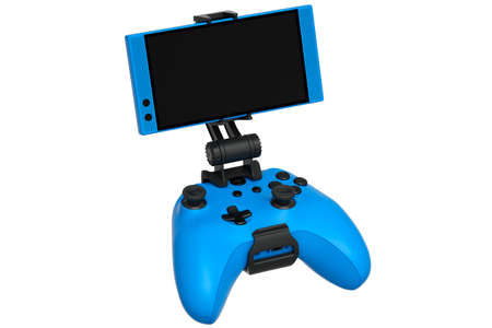 Realistic blue joystick for playing games on a mobile phone on white background
