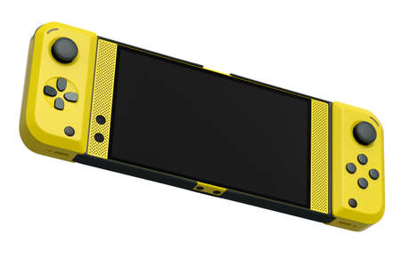 Realistic video game controllers attached to mobile phone on white background