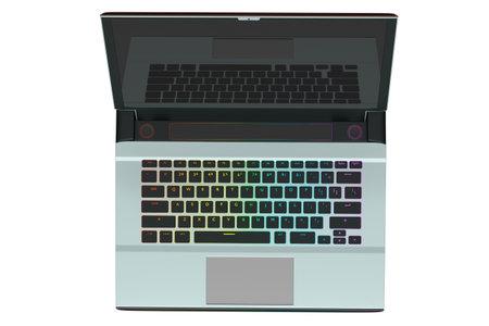 3d rendering of modern gaming colorful laptop 版權商用圖片