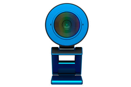 Web camera on stand for online video chat and conference on white