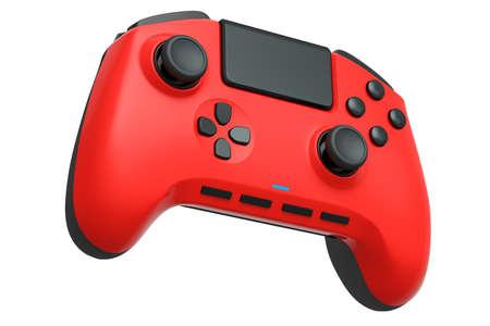 Realistic red video game joystick on white 版權商用圖片
