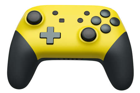 Realistic yellow video game joystick on white 版權商用圖片