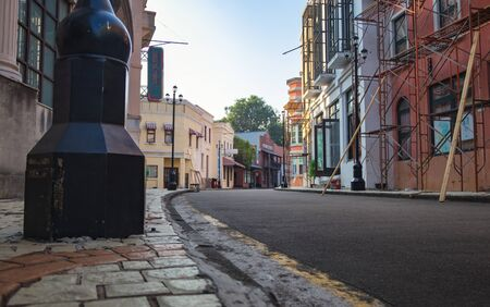 Low angle shot of a neighborhood in a vintage town Stock Photo