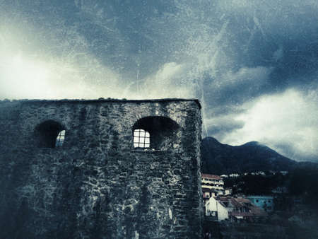 Ancient fortress, old city, grunge background