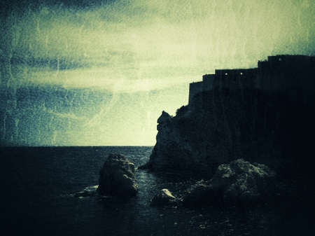 Ancient fortress, old city, grunge background Banco de Imagens - 122594679