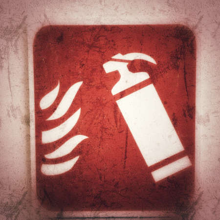 Red fire extinguisher sign