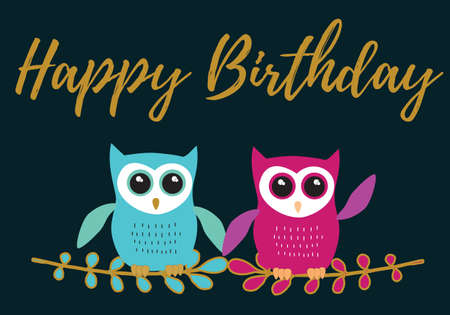 Owl Happy Birthday in turquoise and lila with black,white and gold metallic colors palette vector illustration card template on a dark background
