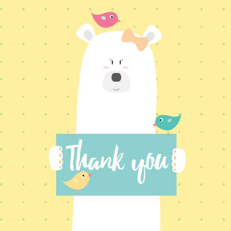 Polar bear girl and birds Thank you vector card illustration on a dotted pattern background
