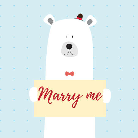 Polar bear marry me vector card illustration on a dotted pattern background Иллюстрация