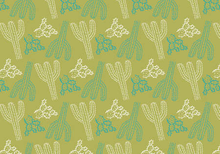 Hand drawn cactus vector pattern in a green, white and blue color palette Reklamní fotografie - 105539010