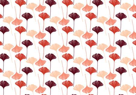 Hand drawn ginkgo leaves vector in a red and pink color palette