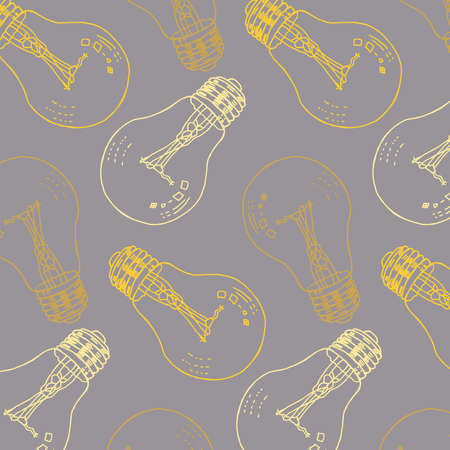 Light bulbs vector pattern (idea symbol) in yellow and gray colors palette