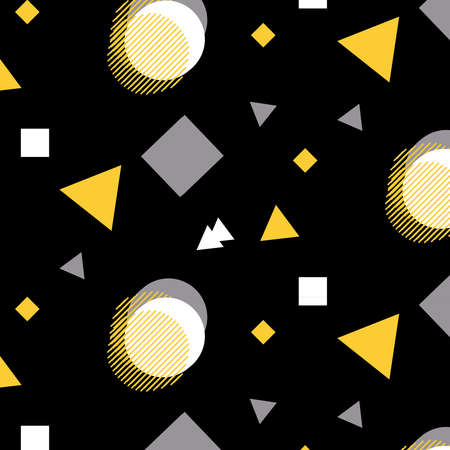 Abstract overlap geometric vector pattern in yellow, black and gray colors palette on a black background Illustration