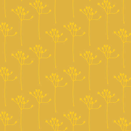 Abstract floral vector pattern in gold and yellow colors palett