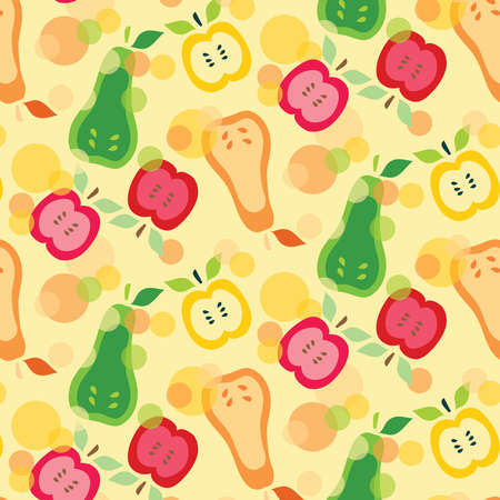 Pears and apples vector pattern illustration green, red, orange and yellow colors on a light background