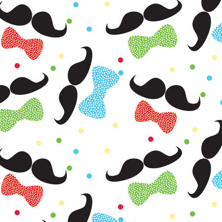 Mustache and bow tie vector pattern illustration on a white background. Fathers day card template