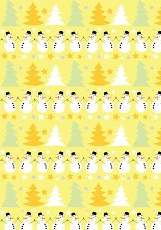 Snowman and Christmas tree vector pattern yellow background