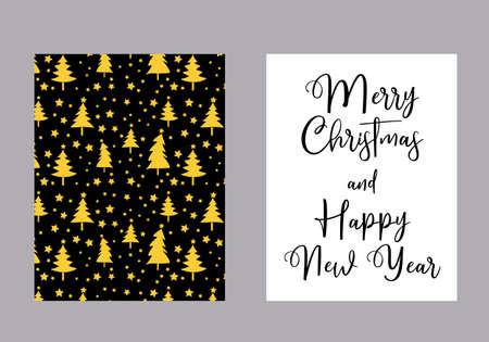 Merry Christmas and Happy New Year vector card, Christmas three pattern in golden and black background Иллюстрация