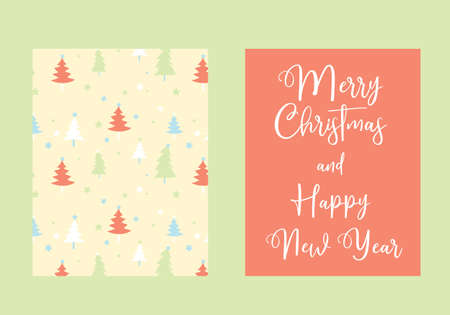 Merry Christmas and Happy New Year vector card, Christmas three pattern background pastel colors