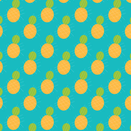 Abstract pineapple vector pattern on a turquoise blue background