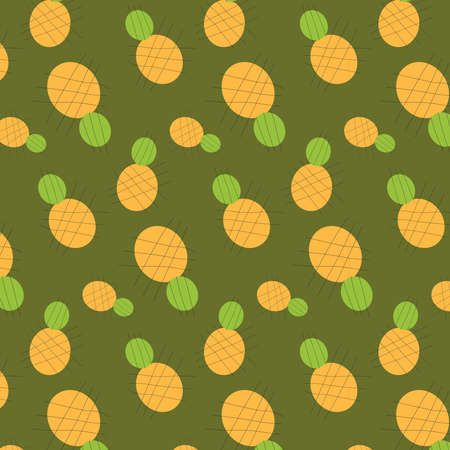 Abstract pineapple vector pattern on a olive green background