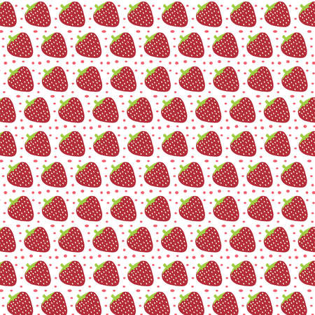 Strawberry vector pattern on a dotted background