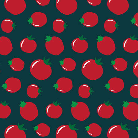 Simple tomato pattern on a teal background Иллюстрация