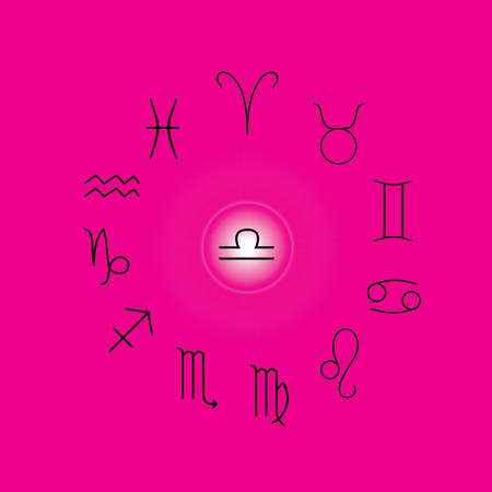 Astrological signs, Symbols of zodiac, horoscope, astrology and mystic signs vector illustration on a pink background