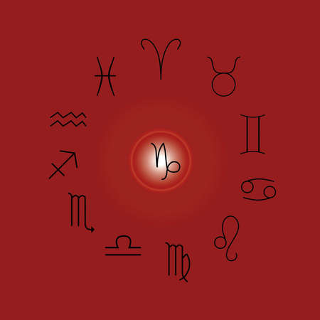 Astrological signs, Symbols of zodiac, horoscope, astrology and mystic signs vector illustration on a red background Иллюстрация