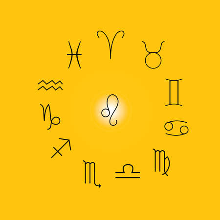 Astrological signs, Symbols of zodiac, horoscope, astrology and mystic signs vector illustration on a yellow background Иллюстрация
