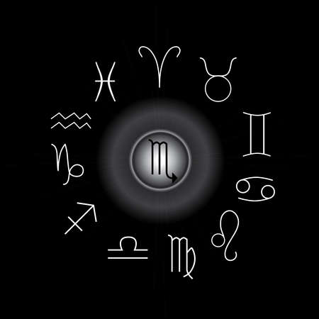 Astrological signs, Symbols of zodiac, horoscope, astrology and mystic signs vector illustration on a black background Иллюстрация