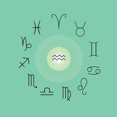 Astrological signs, Symbols of zodiac, horoscope, astrology and mystic signs vector illustration on a turquoise background